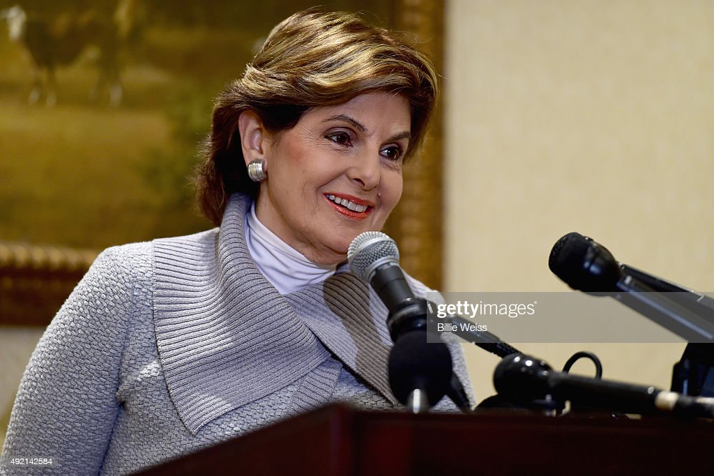 Attorney <a gi-track='captionPersonalityLinkClicked' href=/galleries/search?phrase=Gloria+Allred&family=editorial&specificpeople=213999 ng-click='$event.stopPropagation()'>Gloria Allred</a> holds a press conference on the status of Judy Huth v. William H. Cosby at the Omni Hotel on October 10, 2015 in Boston, Massachusetts.