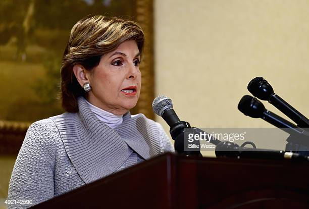 Attorney Gloria Allred holds a press conference on the status of Judy Huth v William H Cosby at the Omni Hotel on October 10 2015 in Boston...