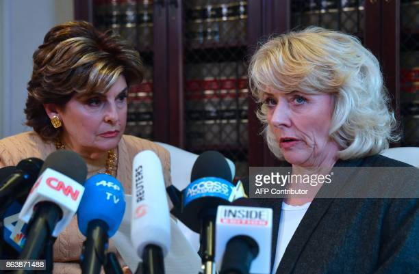 Attorney Gloria Allred looks on at a press conference with Heather Kerr in Los Angeles California on October 20 another woman who alleges she was...