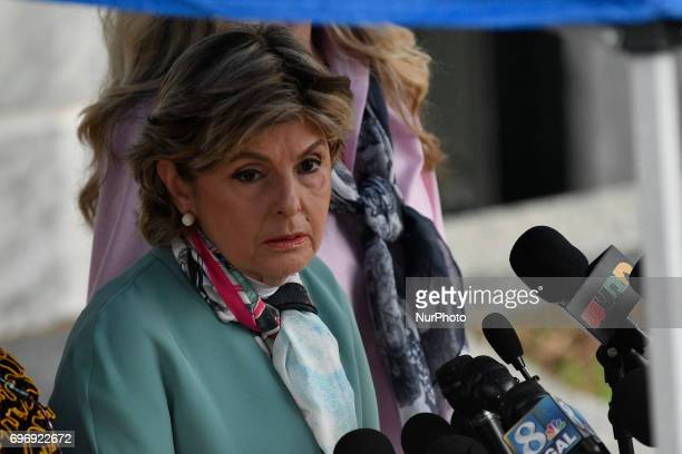 Attorney Gloria Allred reacts after judge Steven O'Neill declares a mistrial in the aggravated indecent assault trail of entertainer Bill Cosby at...