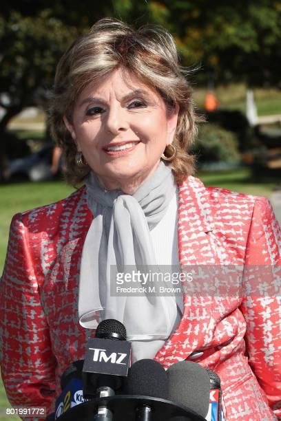 Attorney Gloria Allred representing Judy Huth speaks during a trial setting conference of a civil suit against Bill Cosby at the Santa Monica...