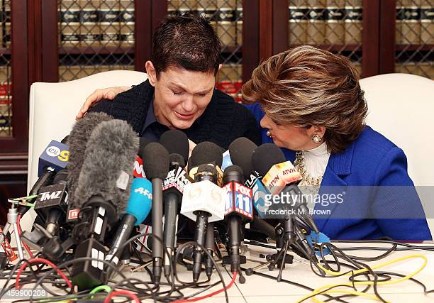Attorney Gloria Allred speaks at a press conference with Beth Ferrier an alleged victim of Bill Cosby on December 3 2014 in Los Angeles California...
