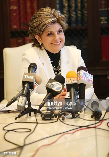 Attorney Gloria Allred speaks during a news conference with Daniel Ramos announcing a lawsuit against Kanye West after an attack at LAX Airport on...