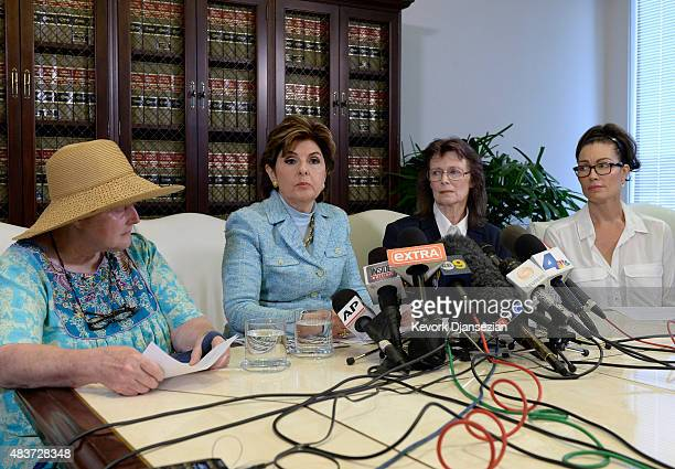 Attorney Gloria Allred speaks during a news conference with two alleged sexual assault victims and one sexual harassment victim of comedian Bill...