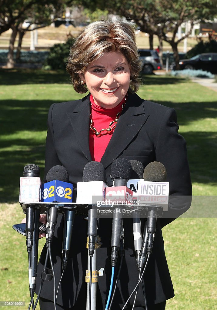 Attorney Gloria Allred speaks during a press conference after the Judy Huth vs. Bill Cosby Civil Lawsuit Hearing at the L.A. County Superior Court on February 2, 2016 in Santa Monica, California.