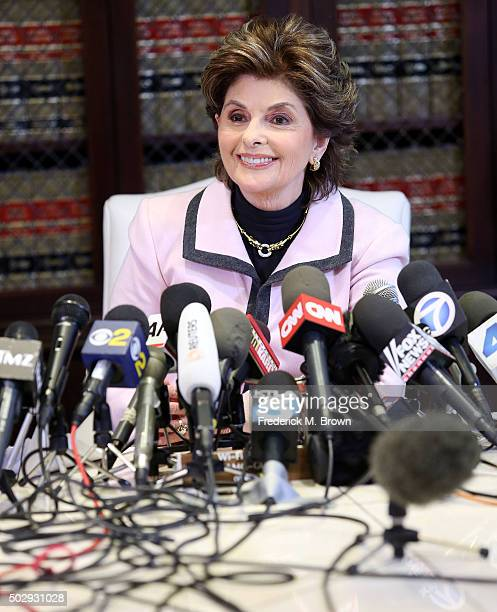 Attorney Gloria Allred speaks during a press conference in response to the felony sexual assault charges levied against comedian Bill Cosby stemming...