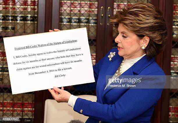 Attorney Gloria Allred speaks during a press conference with alleged victims of Bill Cosby on December 3 2014 in Los Angeles California Cosby has...