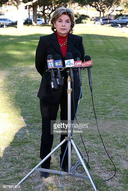 Attorney Gloria Allred speaks during press conference for the Judy Huth vs Bill Cosby civil lawsuit hearing at the LA County Superior Court on...