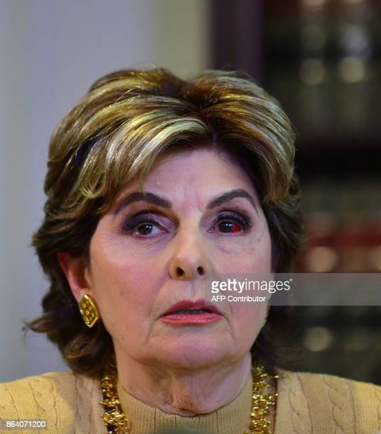 Attorney Gloria Allred speaks in Los Angeles California on October 20 2017 at a press conference with her client who allegdly says she was sexually...
