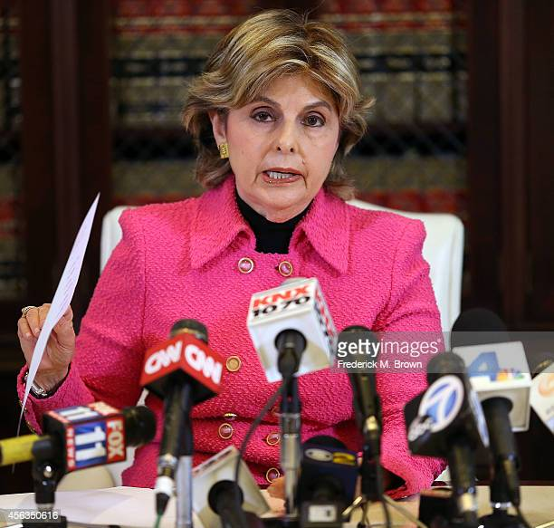 Attorney Gloria Allred speaks to the press about an alleged rape case during attorney Gloria Allred vs NFL Commissioner Roger Goodell Press...