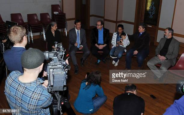 Attorney Hans Meyer speaks to press during a meeting between US Rep Jared Polis and Jeanette Vizguerra holding her grandson Santiago Tabulla the...