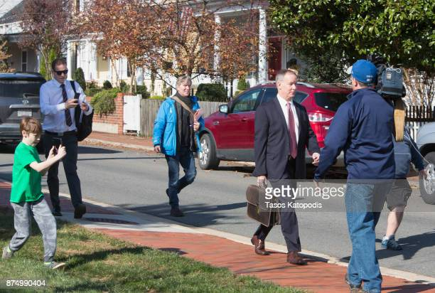 Attorney Jim Hundley leaves The Loudoun County Courthouse on November 16 2017 in Leesburg Virginia Rose McGowan is in court to be arraigned for...