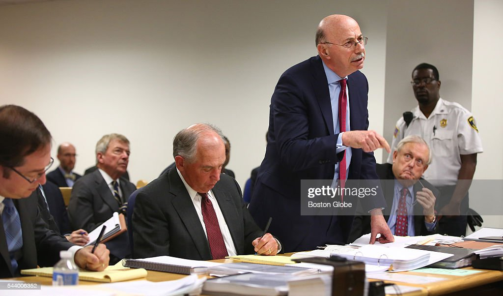 Attorney Les Fagen, standing, addresses Judge George Phelan, not pictured. He represents Philippe Dauman and George S. Abrams. Attorneys representing various factions of Sumner M. Redstone's family argue over who should gain control of his media companies, in Norfolk County Probate Court in Canton, Mass., on June 30, 2016.