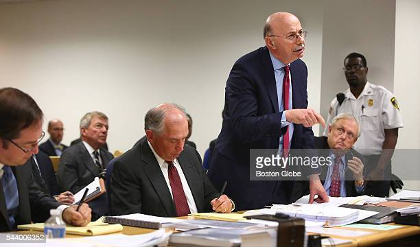 Attorney Les Fagen standing addresses Judge George Phelan not pictured He represents Philippe Dauman and George S Abrams Attorneys representing...