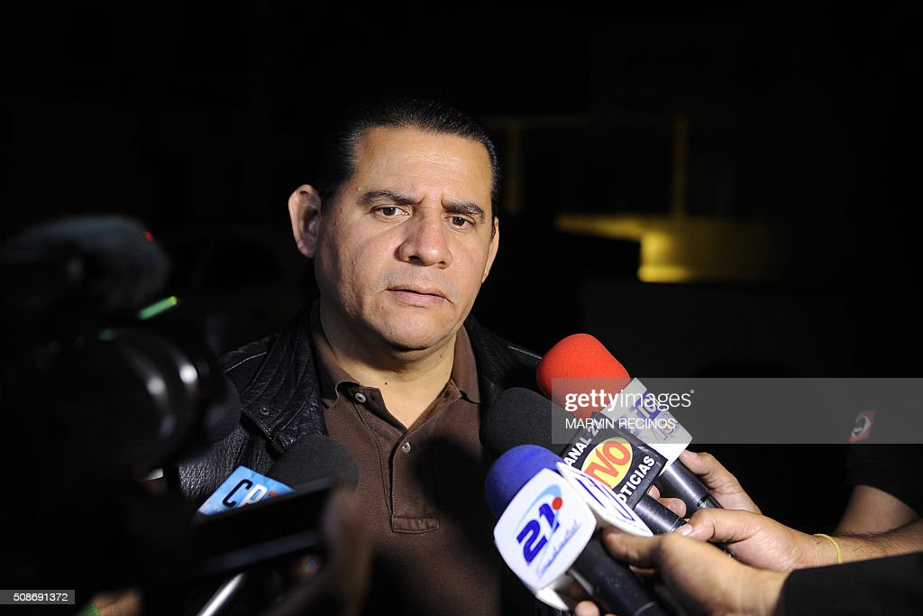 Attorney Lisandro Quintanilla, legal representative of former military officer Carlos Mauricio Guzmán Aguilar, speaks to the media outside the headquarters of the Central Division of police investigations in San Salvador, El Salvador on February 6, 2016. Salvadoran police launched a raid to arrest 17 former military personnel one of whom is Aguilar, accused of killing six Jesuit priests in 1989, one of the most notorious atrocities of the country's bloody civil war. AFP PHOTO / Marvin RECINOS / AFP / Marvin RECINOS