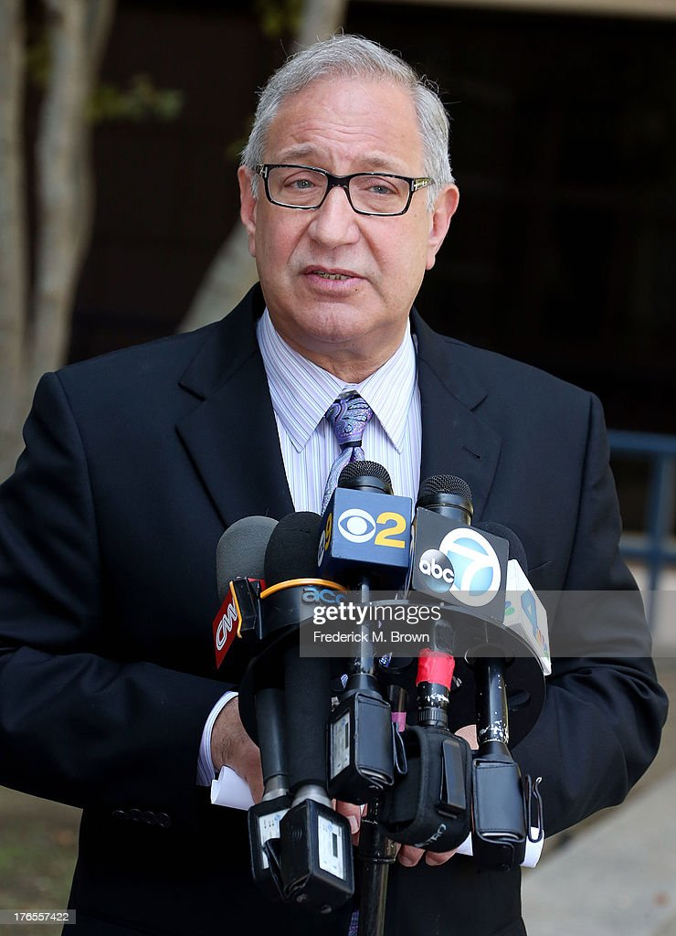 Attorney Mark Geragos speaks during a press conference for Chris Brown's court apperance announcing that charges against Chris Brown stemming from a...