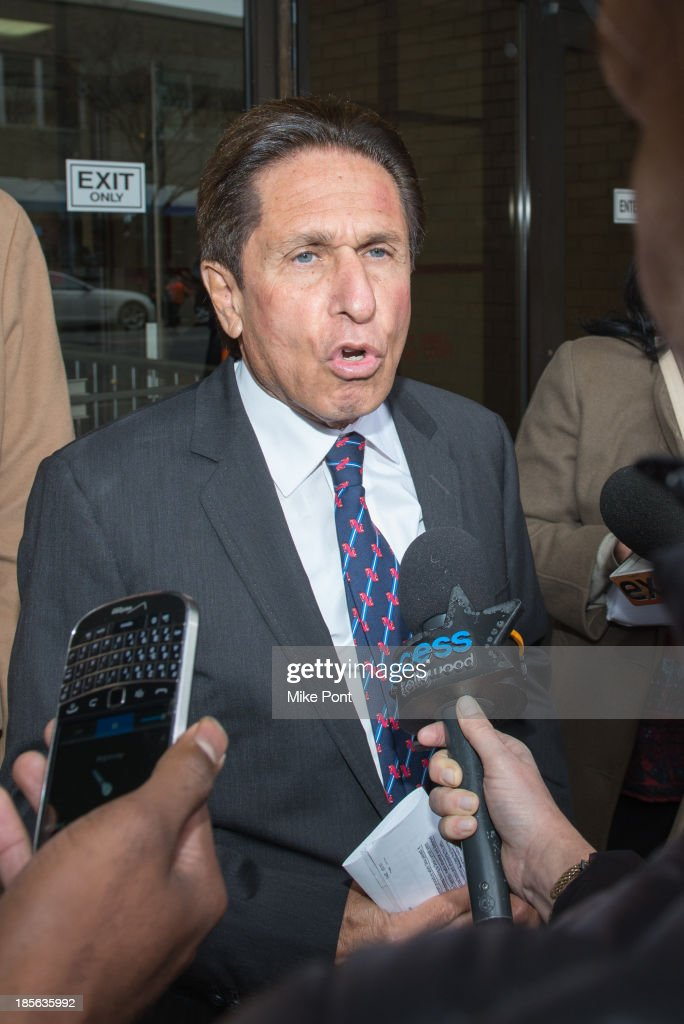 Attorney Mark Heller appears at Nassau County First District Court representing Dina Lohan after her arrest on September 12, 2013 on suspicion of driving while intoxicated after she was pulled over for speeding on Long Island, on October 23, 2013 in Hempstead, New York.