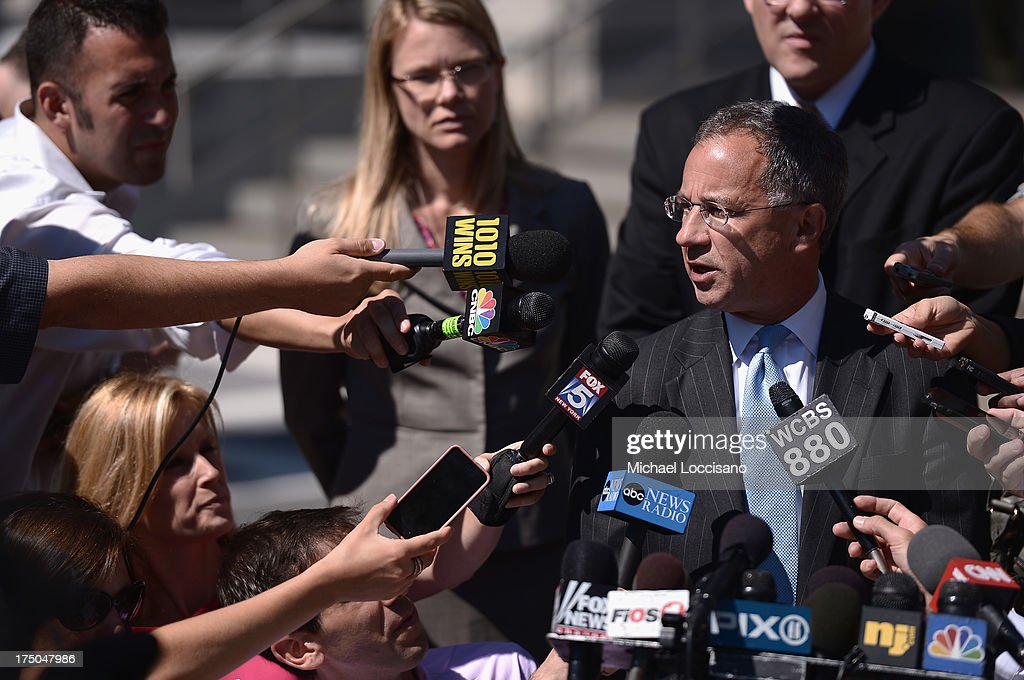 U.S. Attorney Paul Fishman holds a press conference on behalf of his clients Joe Giudice and Teresa Giudice following their court apprearance on charges of defrauding lenders, illegally obtaining mortgages and other loans as well as allegedly hiding assets and income during a bankruptcy case on July 30, 2013 in Newark, United States.