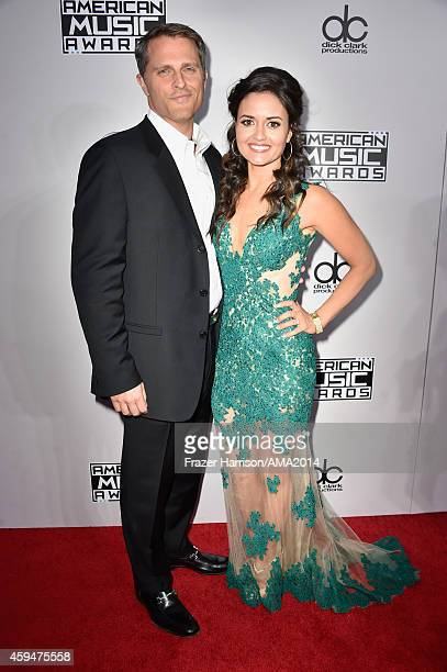 Attorney Scott Sveslosky and actress Danica McKellar attend the 2014 American Music Awards at Nokia Theatre LA Live on November 23 2014 in Los...