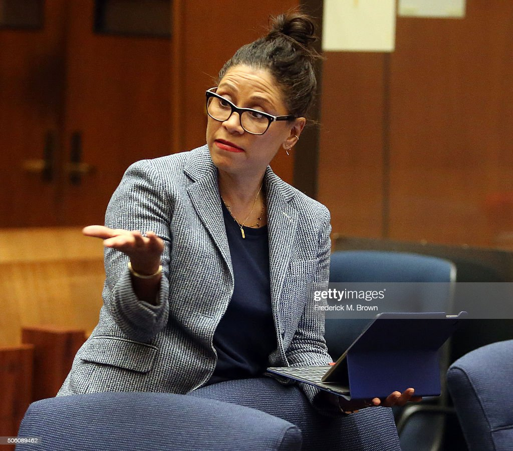 Attorney Shawn Chapman Holley in Los Angeles court during a pretrial hearing for Marion 'Suge' Knight at the Clara Shortridge Foltz Criminal Justice...