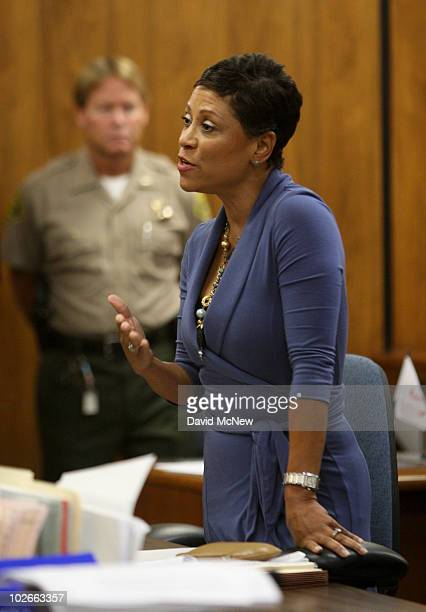 Attorney Shawn Chapman Holley speaks at Lindsay Lohan's probation revocation hearing at the Beverly Hills Courthouse on July 6 2010 in Los Angeles...