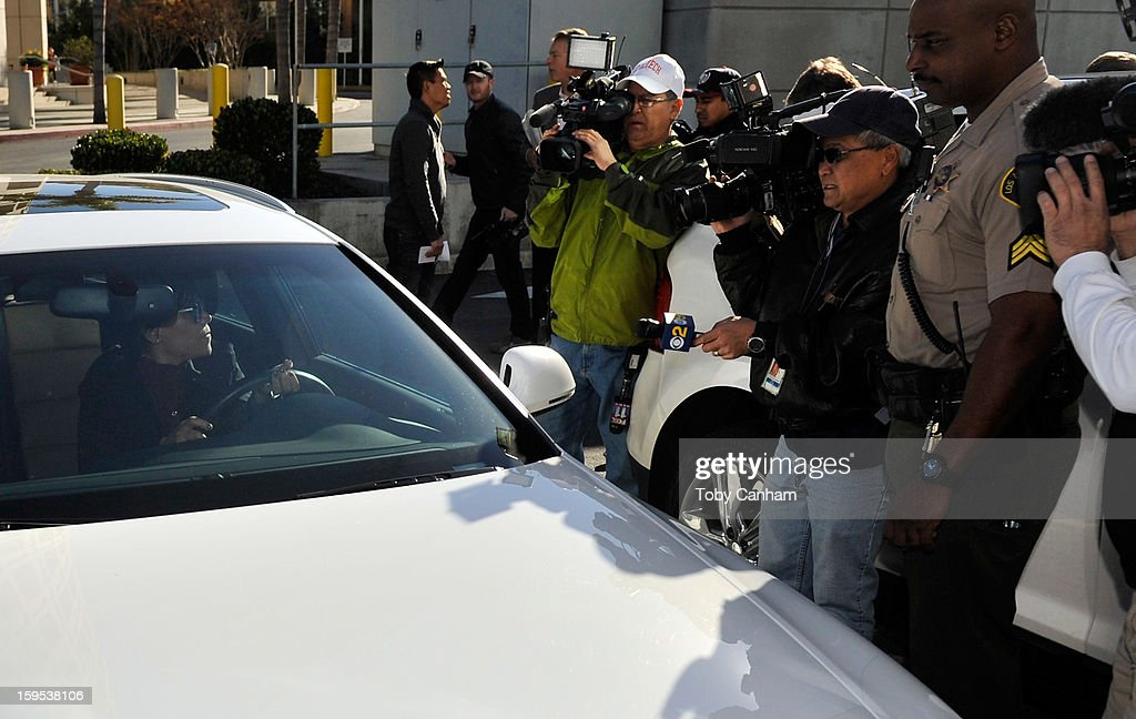Attorney Shawn Holley lawyer of actress Lindsay Lohan arrives at the Airport Branch Courthouse of Los Angeles Superior Court on January 15 2013 in...
