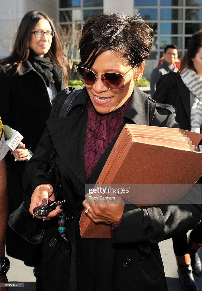 Attorney Shawn Holley lawyer of actress Lindsay Lohan leaves the Airport Branch Courthouse of Los Angeles Superior Court on January 15 2013 in Los...