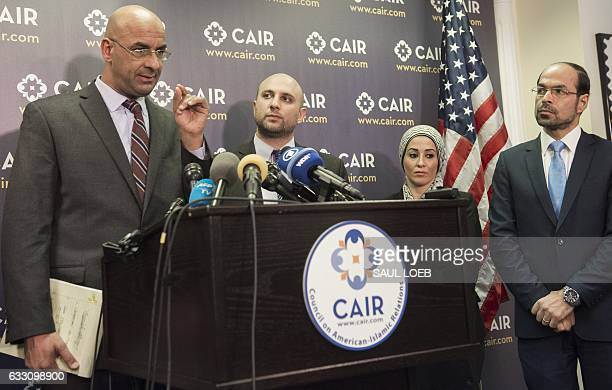 Attorney Shereef Akeel speaks alongside attorney Gadeir Abbas Council on AmericanIslamic Relations Litigation Director Lena Masri and CAIR Executive...
