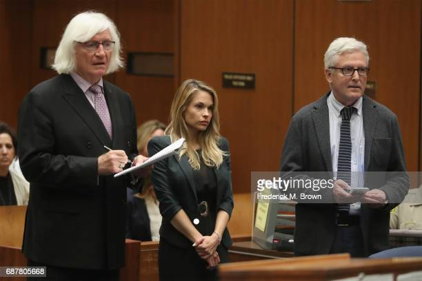 Attorney Thomas Mesereau speaks during model Dani Mathers hearing at Clara Shortridge Foltz Criminal Justice Center on May 24 2017 in Los Angeles...
