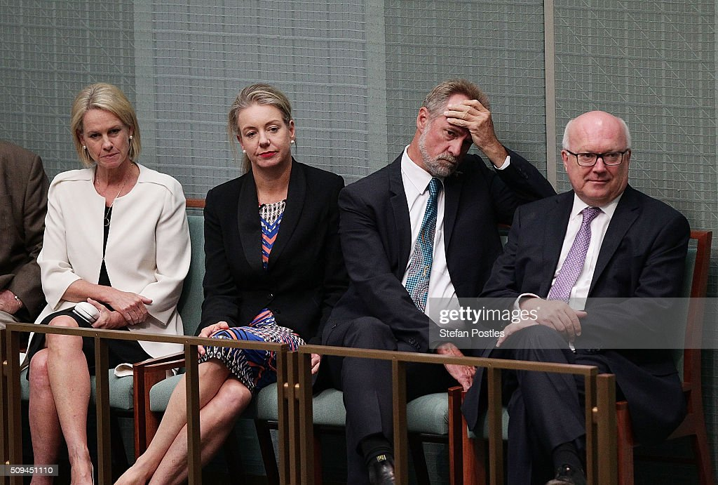 Attorney-General George Brandis, Senator Nigel Scullion, Senator Bridget McKenzie and Senator Fiona Nash listen to Deputy Prime Minister Warren Truss announce his retirement in the House of Representatives on February 11, 2016 in Canberra, Australia. Nationals Leader and Deputy Prime Minister Warren Truss and Trade Minister Andrew Robb will retire at the next election.