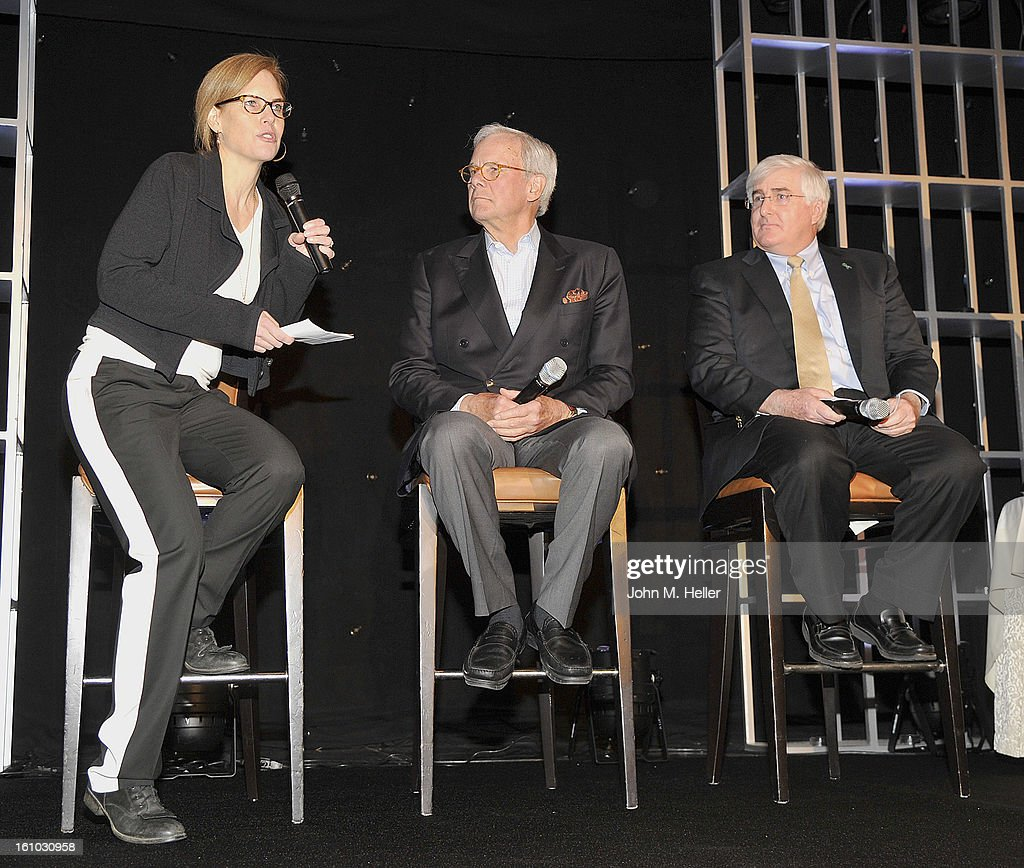 Attorney/Interactive Content Consultant Andie Brokaw Simon, Keynote Speaker/Special Correspondent NBC News Tom Brokaw and Attorney and 2013 Entertainment Law Initiative Service Award Recipient Chuck Ortner at the Grammy Foundation's 15th Annual Entertainment Law Initiative Luncheon at Beverly Hills Hotel on February 8, 2013 in Beverly Hills, California.