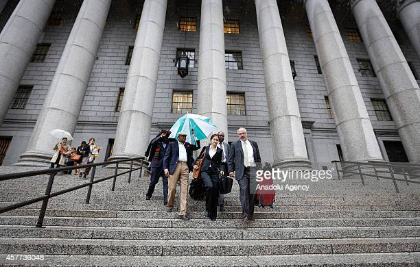 Attorneys Beatrice Lindstrom and Brian Concannon Jr of the Institute for Justice and Democracy in Haiti leave from United States Courthouse following...