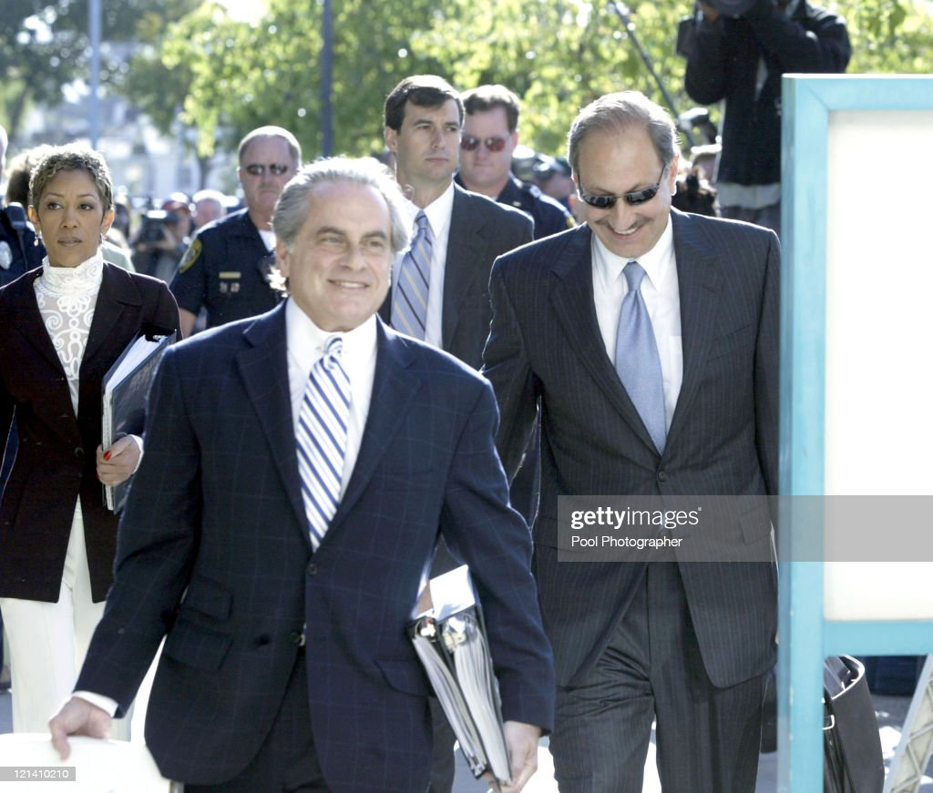 Attorneys Benjamin Brafman and Mark Geragos arrive at the Santa Maria Courthouse in California for client Michael Jackson who is being accused of...