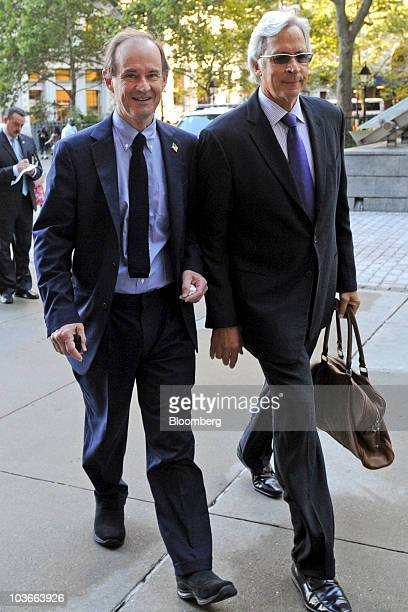 Attorneys David Boies left and Jonathan Schiller from the firm Boies Schiller Flexner LLP representing Barclays Plc arrive at US Bankruptcy Court for...