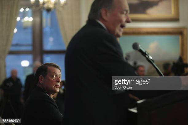 Attorneys for Dr David Dao Thomas Demetrio and Stephen Golan hold a press conference on April 13 2017 in Chicago Illinois On April 9 Dr Dao was...