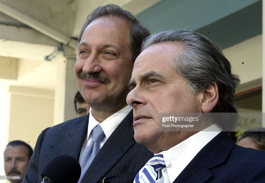 Attorneys for Michael Jackson Mark Geragos and Benjamin Brafman at the pretrial hearing for their client's charge of seven counts of molestation at...