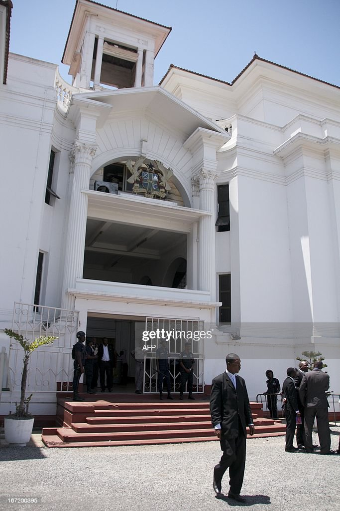 Attorneys leave Ghana's Supreme Court on April 22 2013 in Accra during a break in hearings on the opposition New Patriotic Party's case against...