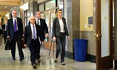 Attorneys Randy Kinnard Bruce Broillet and Scott Carr accompany Sportscaster and television personality Erin Andrews into court on March 7 2016 in...