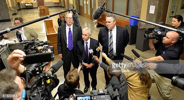 Attorneys Randy Kinnard Bruce Broillet and Scott Carr make a statement to the press following the verdict of Sportscaster and television personality...