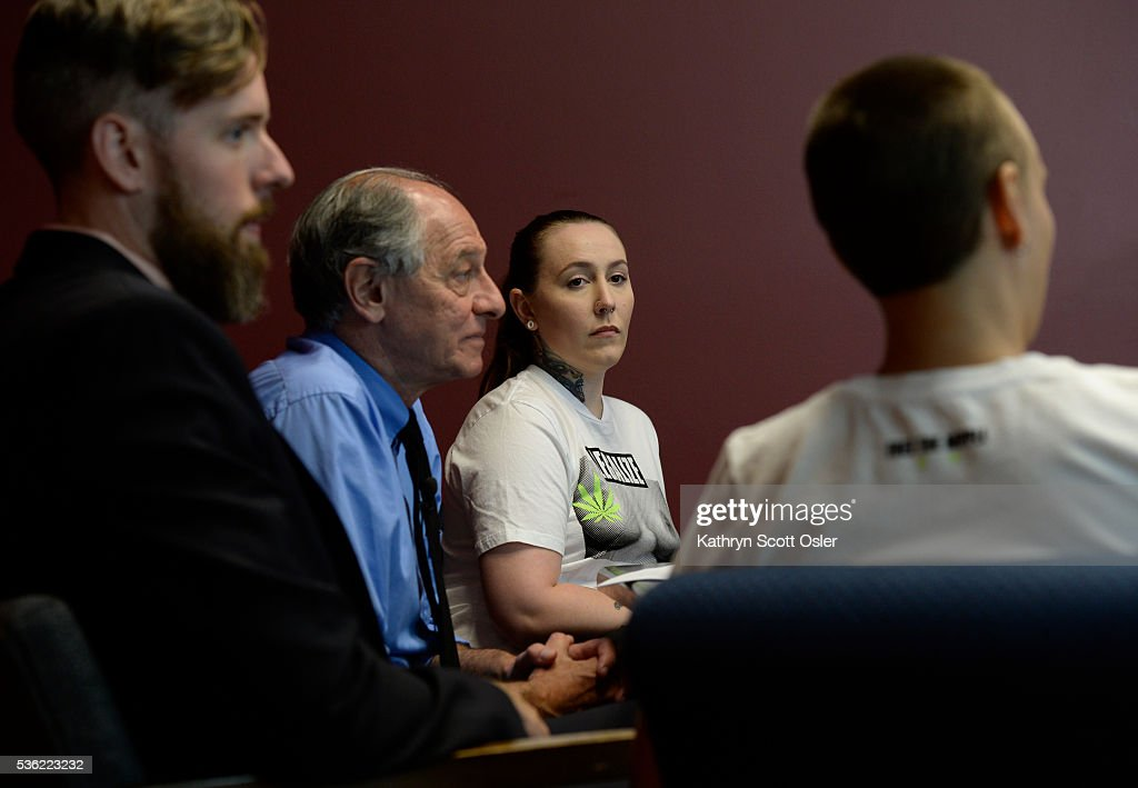 Attornies Andy McNulty, left, and David Lane, second from left, answers questions with plaintiffs Samantha Six, and Brit Hoagland, right, during a press conference at the law offices in Denver. The two women wore t-shirts with a photo of bare breasts on the front of the shirt. The law firm of Killmer, Lane & Newman, LLC in Denver has filed a complaint in the US District Court on the behalf of plaintiffs in Fort Collins, CO that want to eliminate sexist statutes from the books and wish to bare their breasts publicly in Fort Collins without fear of arrest. A Fort Collins statute criminalizes women's nipples being publicly exposed, but not men's nipples. (Photo by Kathryn Scott Osler/The Denver Post via Getty Images)The law firm of Killmer, Lane & Newman, LLC in Denver has filed a complaint in the US District Court on the behalf of plaintiffs in Fort Collins, CO that want to eliminate sexist statutes from the books and wish to bare their breasts publicly in Fort Collins without fear of arrest. A Fort Collins statute criminalizes women's nipples being publicly exposed, but not men's nipples.