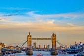 London, England - View over the River Thames to the sights of the city of London