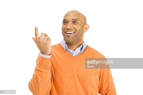 Attractive Adult Black man gesturing with hand and smiling