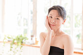 attractive asian woman beauty image in living room