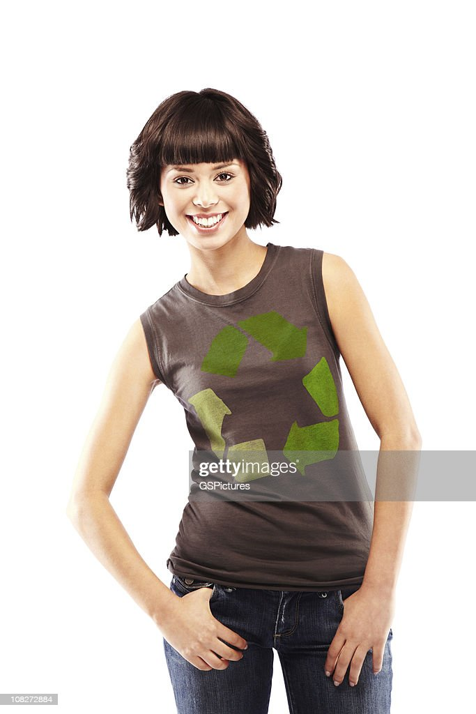 Attractive Brunette with Recycling Logo on Her T-shirt : Stock Photo