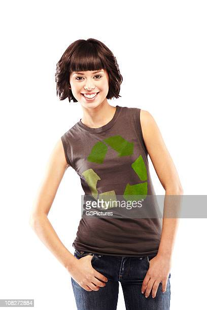 Attractive Brunette with Recycling Logo on Her T-shirt