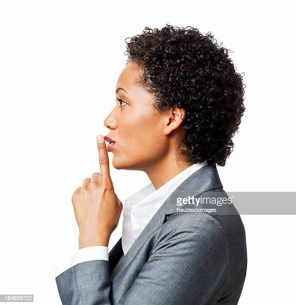 Attractive Businesswoman Gesturing Be Quiet - Isolated