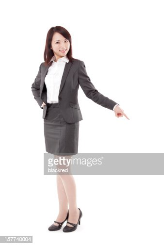 Attractive Businesswoman Pointing Down