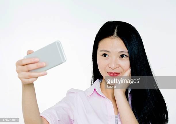 attractive businesswoman selfie