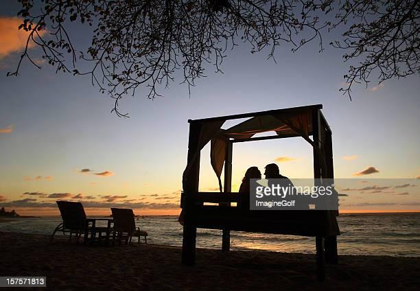 Attractive Caucasian Heterosexual Couple Enjoying Romantic Evening at Luxury Resort