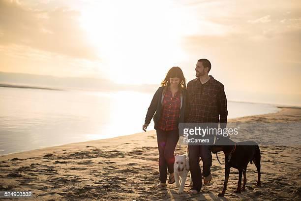 Attrayant couple et leur chien prenant un tour sur la